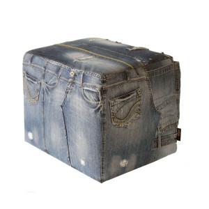 unieke handgemaakte poef gerecycled jeans denim
