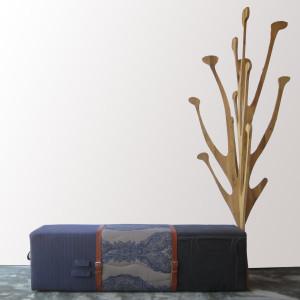 zitelement poef bank leren riemen boom kapstok