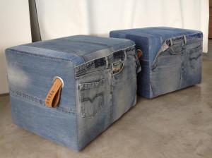 2 unieke poefen van eigen jeans