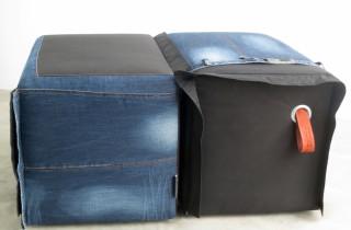 2 unieke poefen van zitzak en jeans recyclen vintage