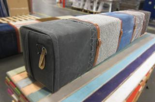 5-persoonsbank canvas-jeans-tricot-tweed met leren riemen