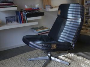 herstoffering tv-stoel vintage oude jeans voor