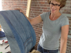 rugleuning autostoel VW-bus herstoffering in jeans-liggend