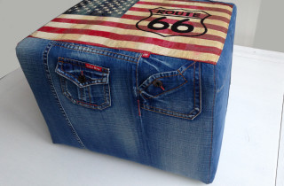 unieke poef jeans Am vlag route 66