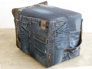 unieke poef jeanszakken en zitzak hergebruik vintage