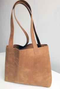 Leren schoudertas shopper paperbag naturel