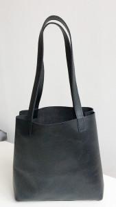 Leren zwarte schoudertas shopper paperbag