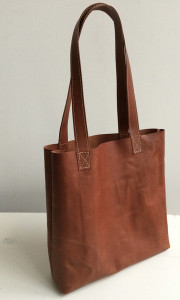 Leren schoudertas shopper paperbag cognac